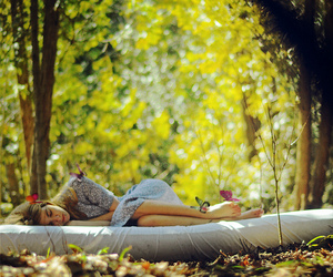 girl, butterfly, and sleep image