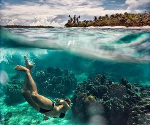diving, girl, and Island image