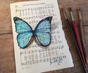 art, butterfly, and music image