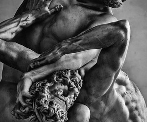 art, sculpture, and black and white image