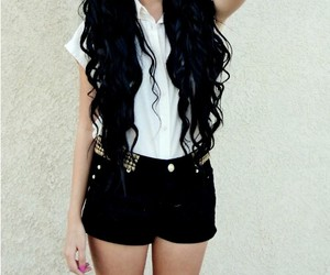 black, hair, and longhair image