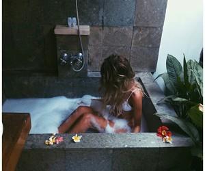 girl, bath, and style image