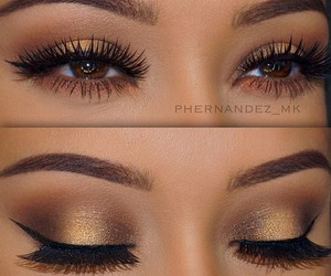gold, make up, and lashes image