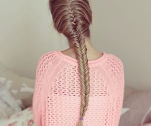 hair, pink, and braid image
