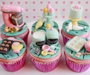 birthday, pink and blue, and sweets image