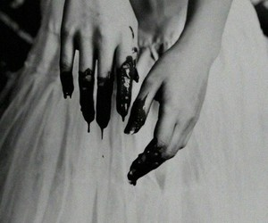 black and white, blood, and bride image