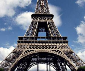 blue sky, eiffel tower, and clouds image