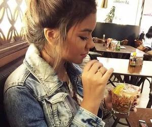 bun, drink, and girl image