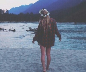 beach, grunge, and flowers image