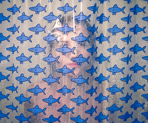 girl, shark, and shower image