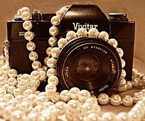 camera, pearls, and photography image