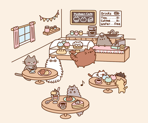 cat, pusheen, and cafe image