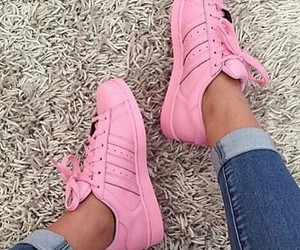 pink, adidas, and shoes image