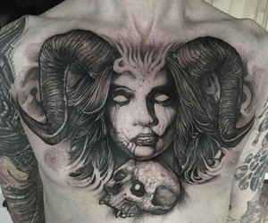 chest piece, ink, and black & gray image