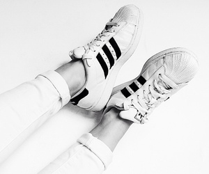 adidas, adidas originals, and black and white image