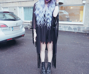 black, grunge, and hair image
