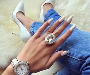 nails, ring, and white image