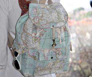 backpack, map, and outfit image