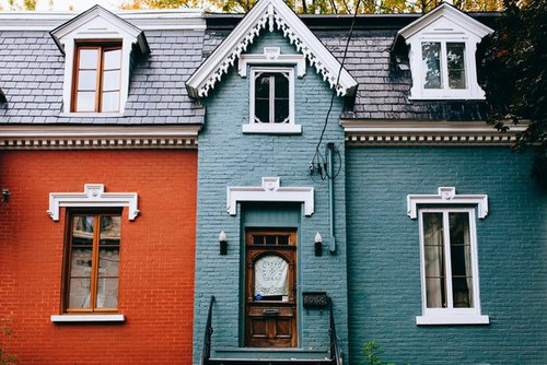 blue, Houses, and vintage image