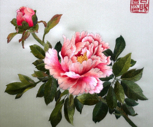 art, peony, and embroidery image