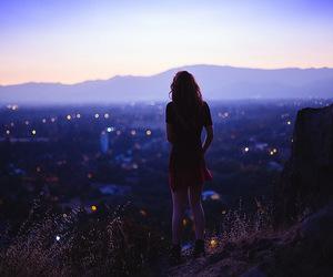 girl, city, and dark image