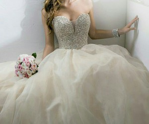 beauty, wedding gown, and bride image