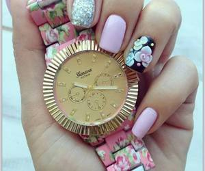 girly, glitter, and pink nails image
