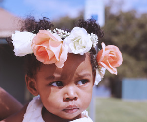 baby, beautiful, and flowers image