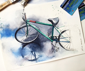 art, bicycle, and drawing image