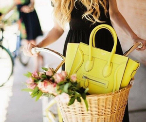 yellow, flowers, and bag image