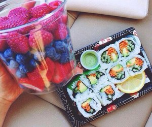 food, fruit, and sushi image