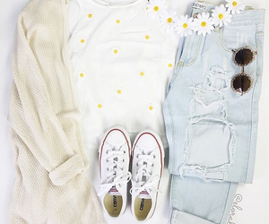 converse, jeans, and sunglasses image