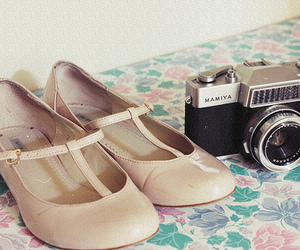 camera, floral, and dress image