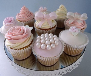 cupcakes, pink, and bow image