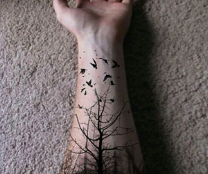 tattoo, bird, and tree image