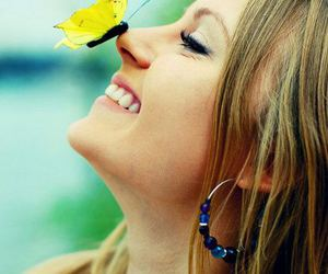 butterfly, girl, and yellow image