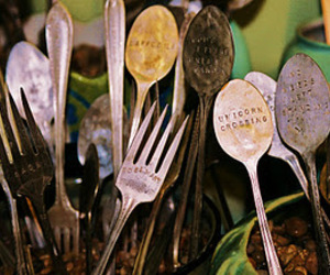 antique, spoon, and fork image