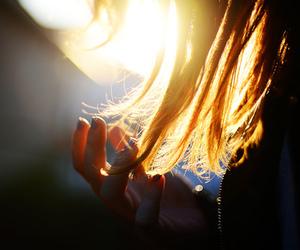 hair, sun, and girl image