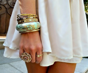 fashion, dress, and bracelet image
