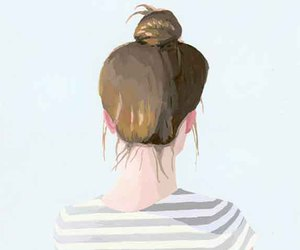 girl, bun, and drawing image
