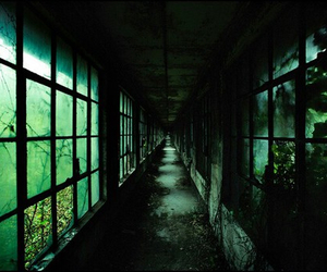 green, dark, and abandoned image