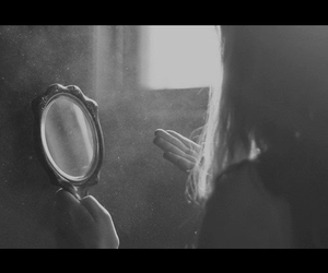 black and white, girls, and mirrors image