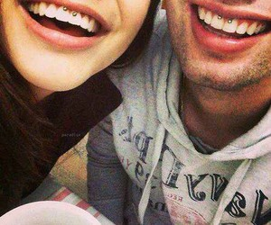 couple, smile, and piercing image