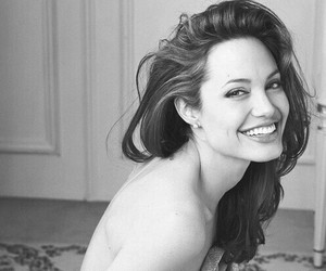Angelina Jolie, smile, and black and white image