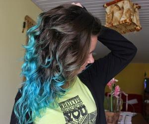 azul, hair, and turquesa image