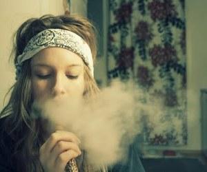 blonde, smoke, and girl image