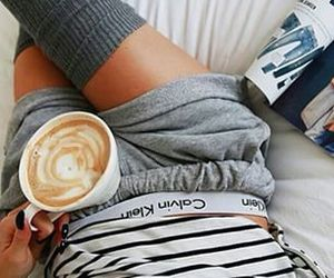 body, coffee, and Calvin Klein image