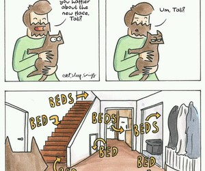 bed, cat, and comic image