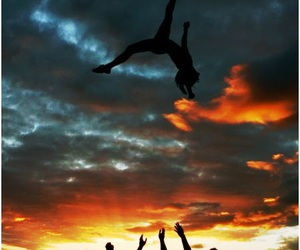 cheerleading, cheer, and sunset image