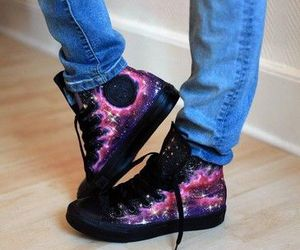 shoes, all star, and galaxy image